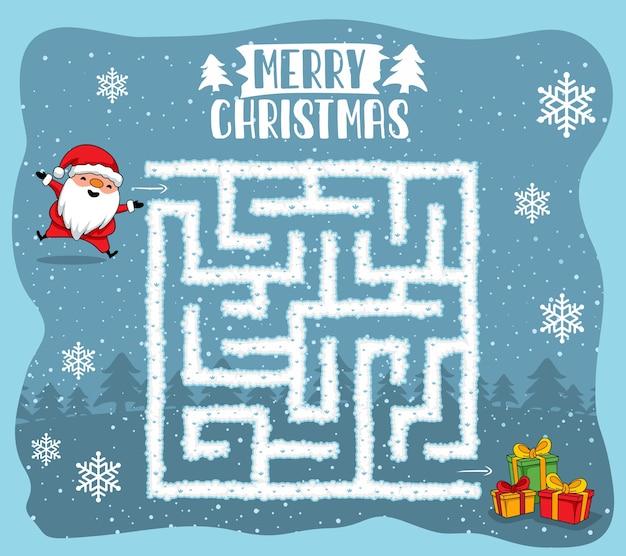 Веселого рождества лабиринт игры лабиринт викторина Premium векторы