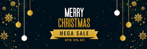 Merry christmas mega sale golden banner template Free Vector
