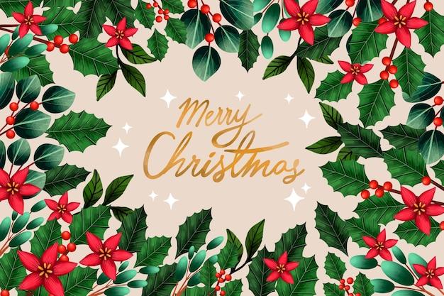 С рождеством христовым омела и листья фон Бесплатные векторы