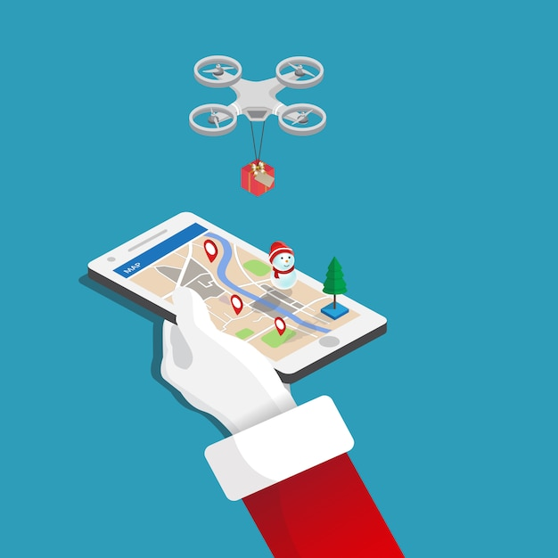 Merry christmas, mobile in hand santa claus, gift delivery by drone flat isometric illustration. Premium Vector