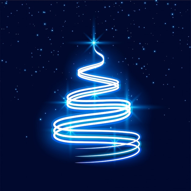 Merry christmas neon festival tree background Free Vector
