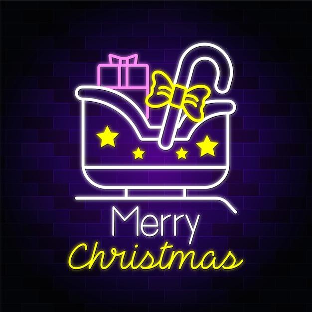 Счастливого рождества неоновый текст вздох с рождественскими покупками подарков вектор Premium векторы