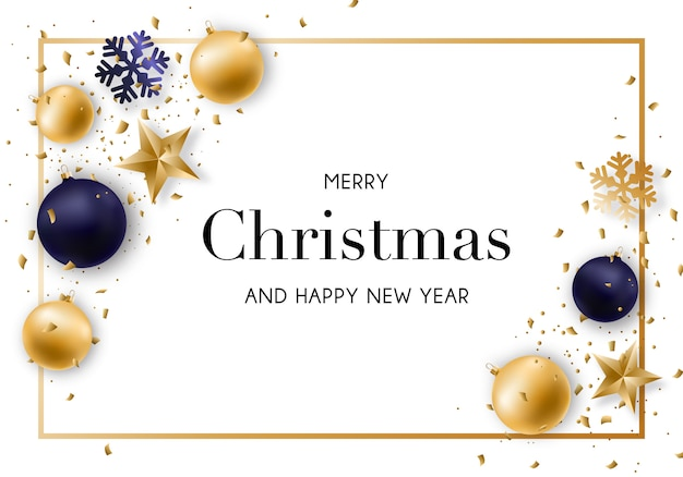 Merry christmas and new year background. Premium Vector