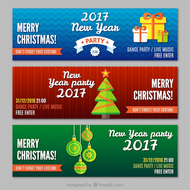 Merry christmas and new year banners Premium Vector