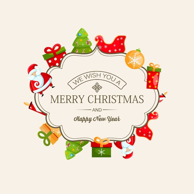 Merry christmas and new year card with calligraphic inscription in elegant frame Free Vector
