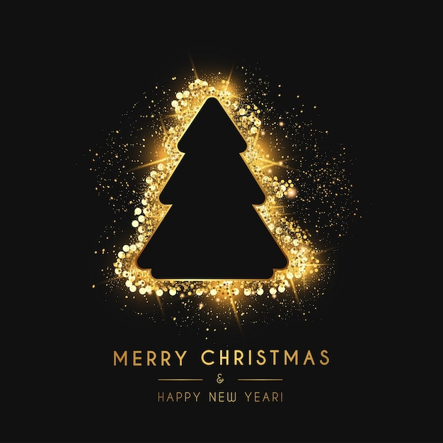 Buon natale e anno nuovo card con albero di natale d'oro Vettore gratuito