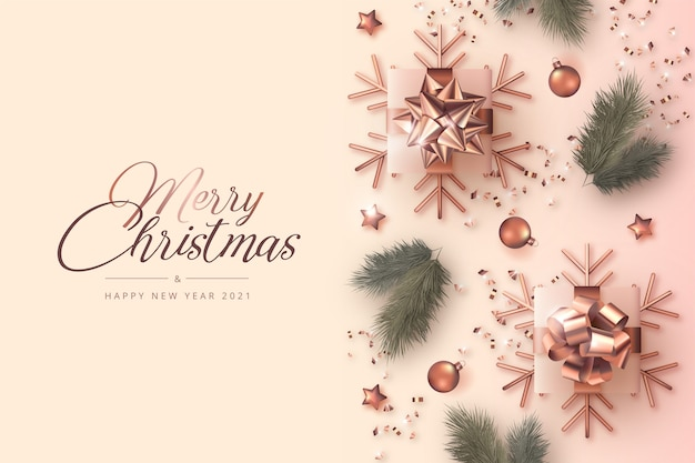 Merry christmas and new year card with realistic decoration Free Vector