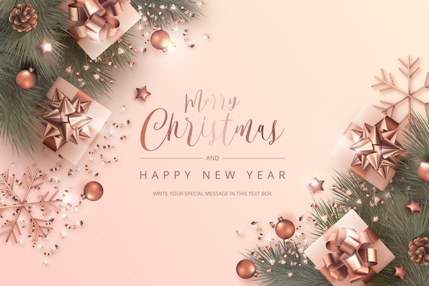 Merry christmas and new year card with realistic ornaments in golden rose Free Vector