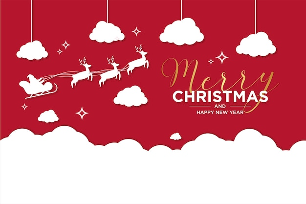 Merry christmas and new year card with reindeer and sleigh flying on snow Free Vector