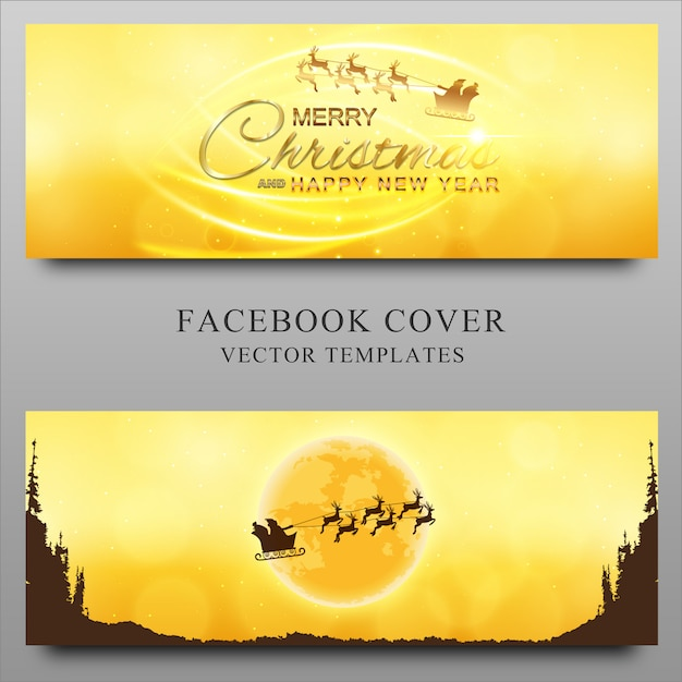 Merry christmas and new year facebook timeline cover design template Premium Vector