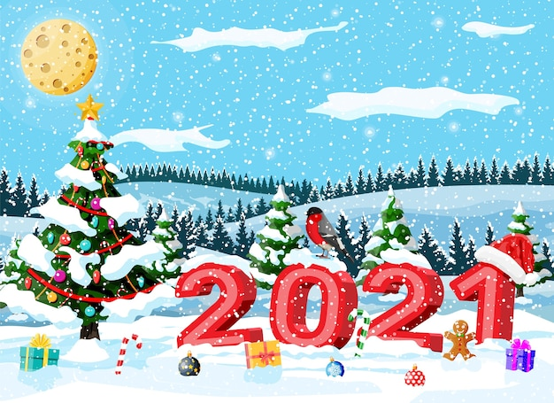Christmas Holiday 2021 Premium Vector Merry Christmas And New Year Holiday Greeting Xmas Card With 2021 Bold Letters