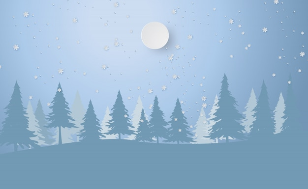 Merry christmas and new year with forest winter Premium Vector
