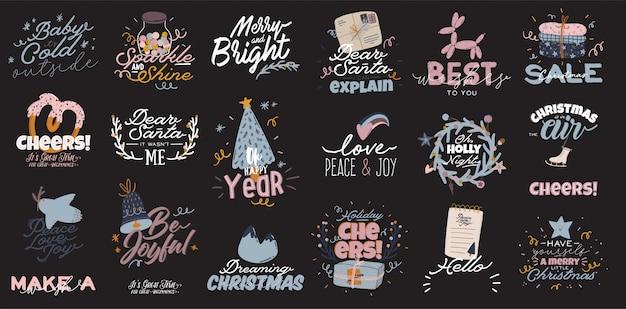 Счастливого рождества или счастливого нового 2021 года иллюстрация с надписью праздник и традиционный зимний элемент. симпатичные принты в скандинавском стиле. Premium векторы