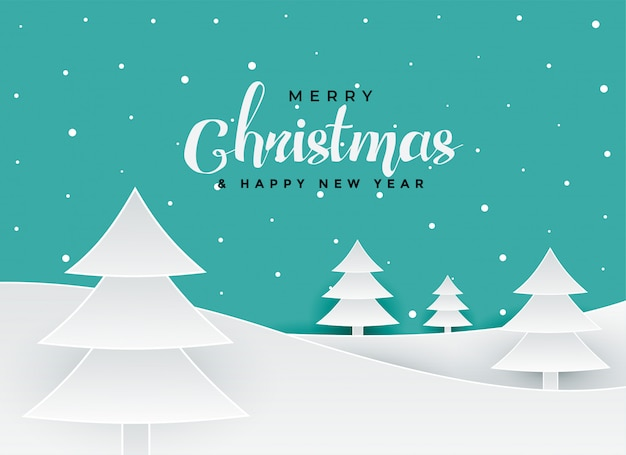 Merry christmas papercut style tree landscape background Free Vector