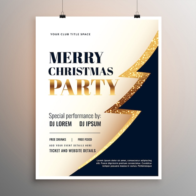 Merry christmas party event flyer template poster design Free Vector