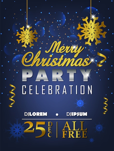 501fff5660 Merry christmas party flyer background with gradient Vector ...