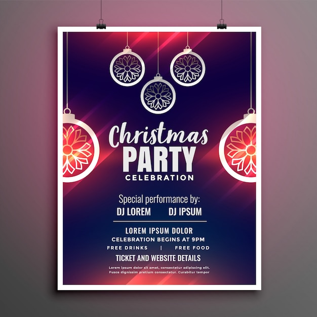 Merry christmas party flyer design poster Free Vector