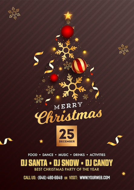 Merry christmas party flyer design with creative xmas tree made by realistic baubles, golden stars Premium Vector