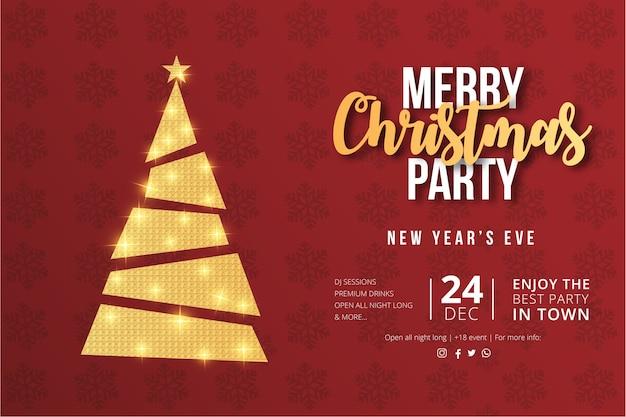 ゴールデンクリスマスツリーとメリークリスマスパーティーのチラシデザイン 無料ベクター