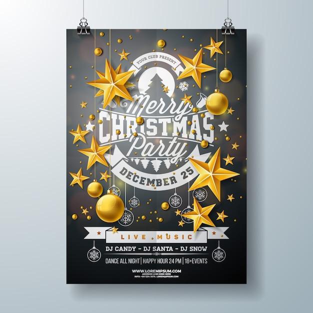 e13dc1ae63 Merry Christmas Party Flyer Design Premium Vector