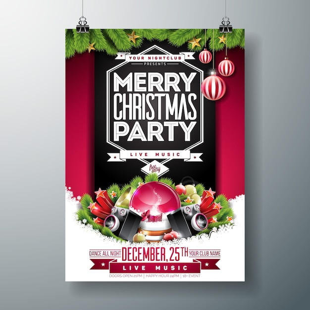033db681bf Merry Christmas Party Flyer Premium Vector