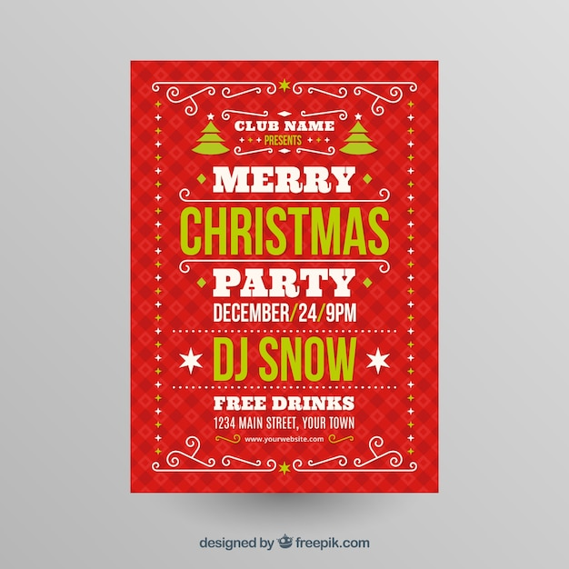 Merry christmas party in a club poster  Free Vector