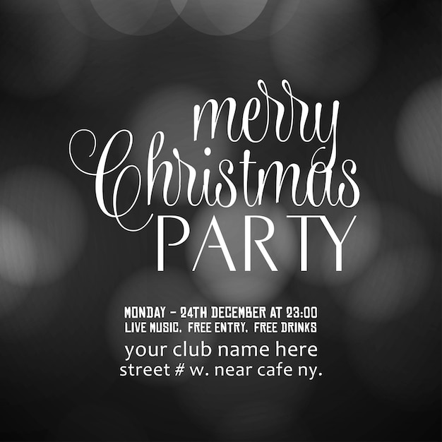 Merry christmas party invitation background Free Vector