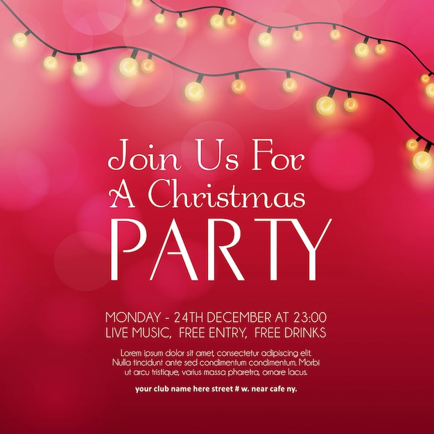 merry christmas party invitation background vector