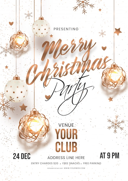 Merry Christmas Party Invitation Card With Hanging Baubles