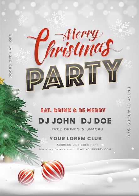 Merry Christmas Party Invitation Card With Xmas Tree