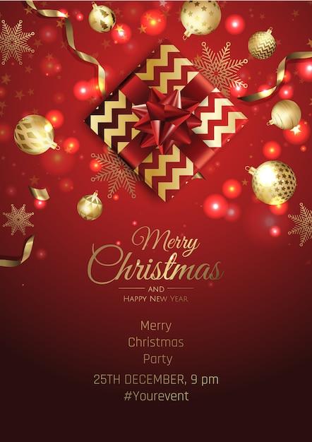 メリークリスマスパーティーの招待状 Premiumベクター