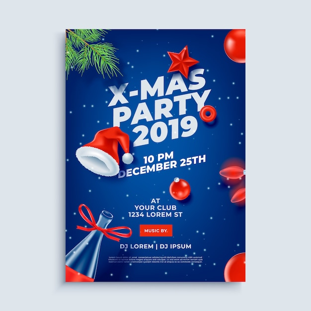 Merry christmas party layout poster template Premium Vector