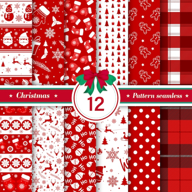 Merry christmas pattern seamless collection in red and white color Free Vector