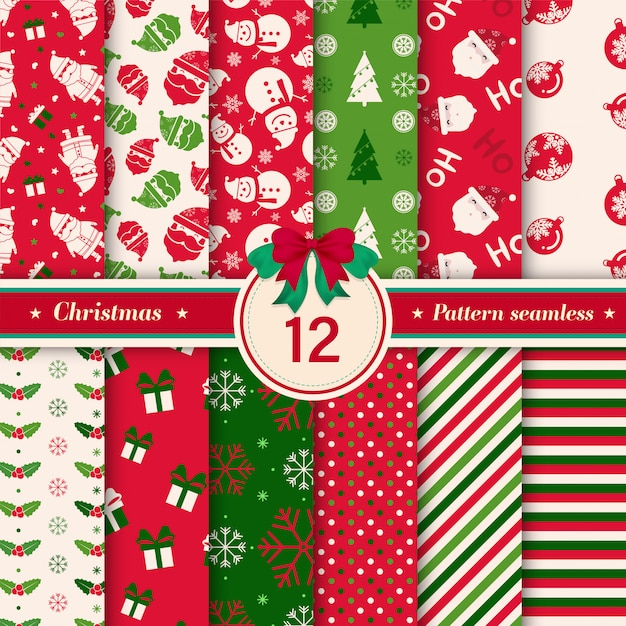 Merry christmas pattern seamless collection. Premium Vector