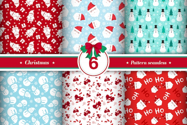 メリークリスマスパターンのシームレスなコレクション 無料ベクター
