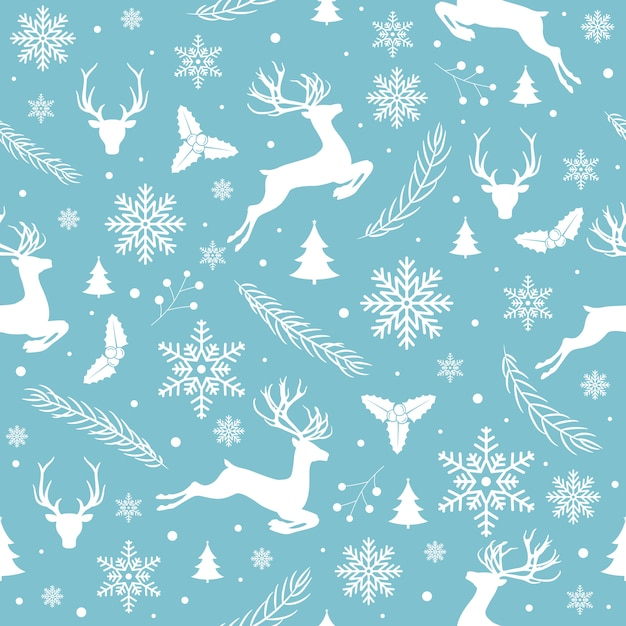Merry christmas pattern seamless Free Vector