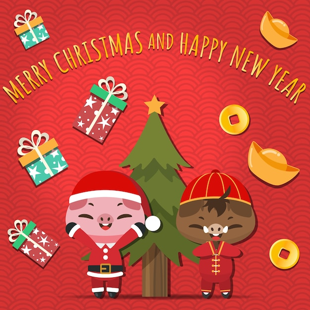 Christmas Pigs.Merry Christmas Pigs In Santa Claus And Chainese Costume