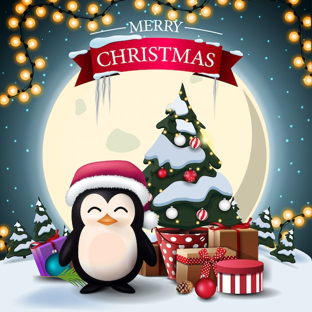 Merry christmas, postcard with penguin in santa claus hat and christmas tree in a pot with gifts Premium Vector