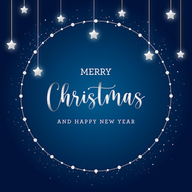 青い背景に輝く星とメリークリスマスポストカード Premiumベクター