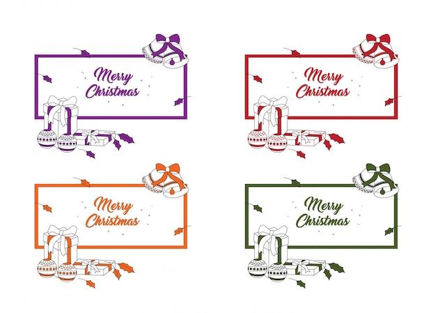 メリークリスマスのポストカード Premiumベクター