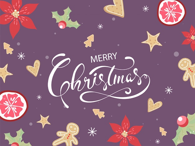花、ホリーベリー、パッションフルーツ、スターフルーツ、ジンジャーブレッド、クリスマスツリー、紫色の背景にハートクッキーとメリークリスマスポスターデザイン。 Premiumベクター