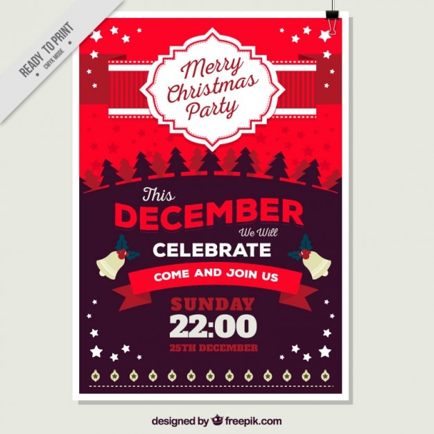 Merry Christmas Poster In Red Tones Vector Free Download