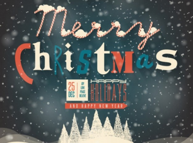 Merry Christmas poster winter background Vector | Free Download