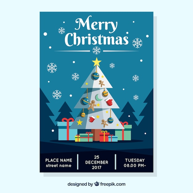 Merry christmas poster with a blue sky