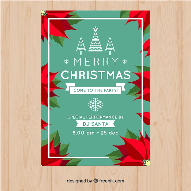 Merry Christmas Poster With Poinsettia Vector Free Download