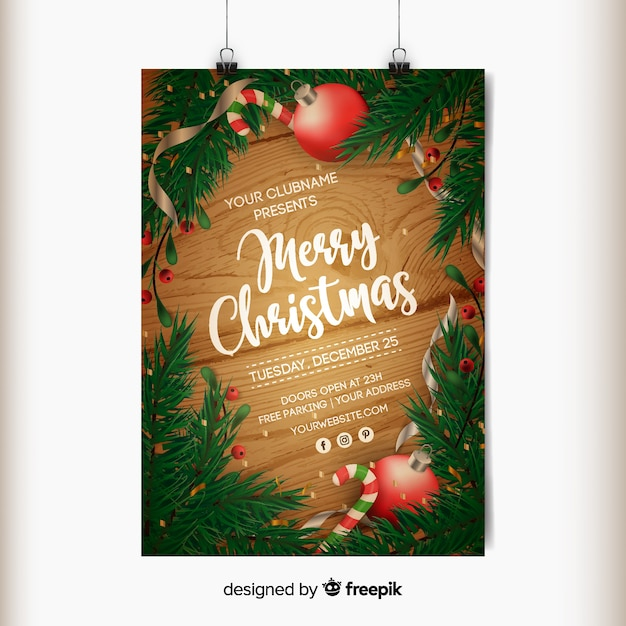 Merry christmas poster Free Vector