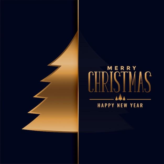 Merry christmas premium golden tree background Free Vector