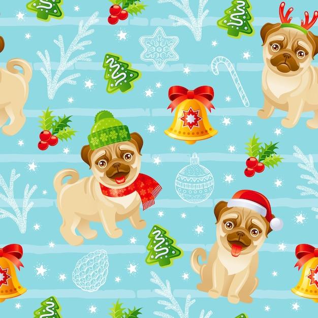 С рождеством христовым образец собаки мопса. бесшовные зимний праздник печати фона. смешное рождество. Premium векторы