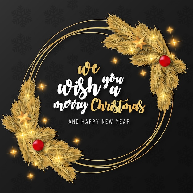 Merry christmas realistic golden frame template Free Vector