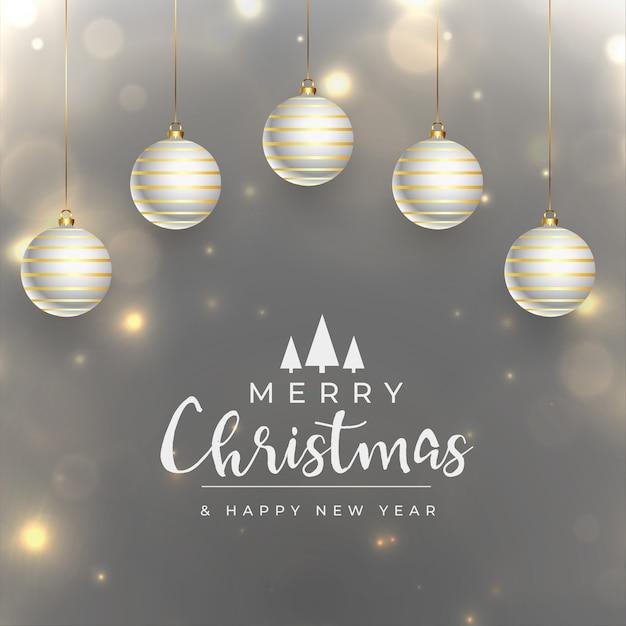 С рождеством христовым реалистичная блестящая праздничная открытка Бесплатные векторы